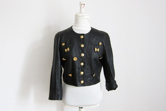 Cropped Leather Jacket with Golden Details