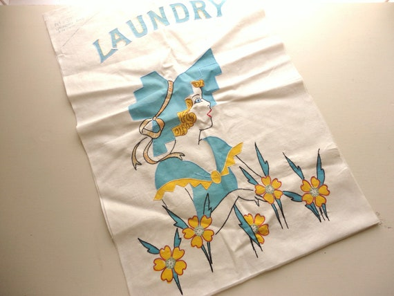 vintage vogart type unfinished laundry bag with embroidery