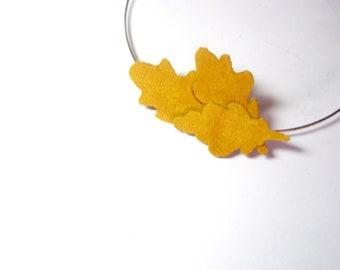 Leaves headband Mustard Yellow headpiece Leather Leaf Headband