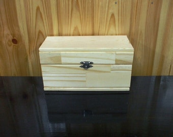 Unfinished Plain Natural Hinged Wood Box different  sizes