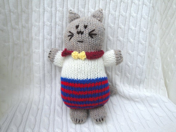 Hand Knit Kitty Doll, Plush Toy Waldorf Kitten Cat Soft Cuddly Huggable Child Boy Girl Baby Toddler Meow Easter Kitty Cat