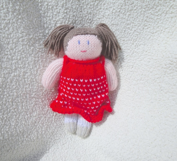 Hand Knit Girl Baby Doll Brown Pigtails Soft Waldorf Toy Red Dress