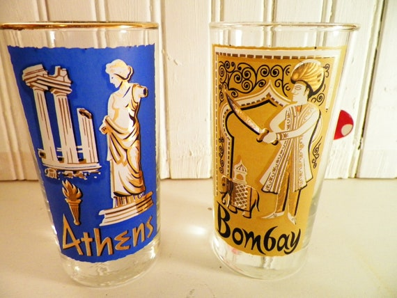 Pair Tumbler Drinking Glasses Bombay And Athens Vintage