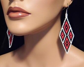EXCLUSIVE Native American Phestola (Diamond Shape) Beaded Earrings in Red