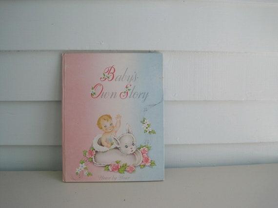 Vintage Baby Book, Blank Unused Baby Album, Keepsake, Memento, Babies Firsts, Family Tree, Illustrated Children