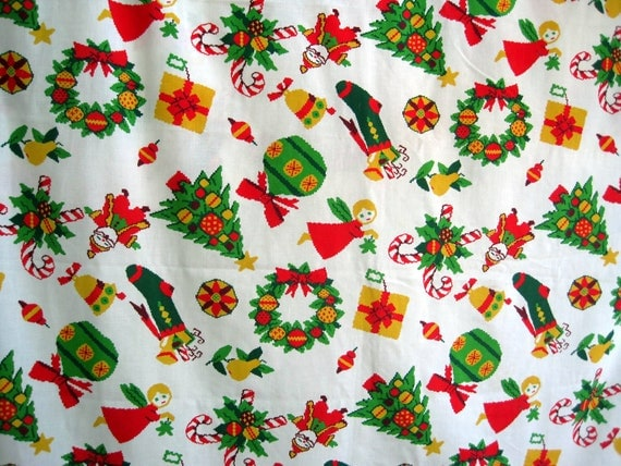 Vintage Christmas Table Cloth, Cutter Fabric, Kitschy Christmas Material 66 x 54