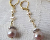 Blush pink pearl with grey accent dangle from tiny white pearl clouds
