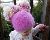 bright pink Cutie Patootie Baby Hats for fall winter 1 to 2 years, pink and white, Christmas Baby Shower, photo prop.