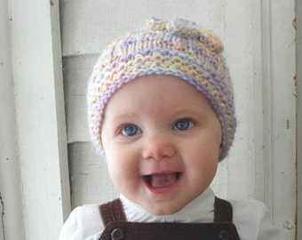 kids winter hat rainbow pastel winter flower hat Newborn to 6 month