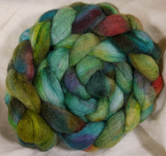 Hand dyed Bfl/ silk top for spinning  - Kelp - ( 4.2 ) mixed bfl/ silk ( 85/15)