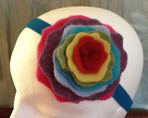 Women's Colorful Rainbow Petal Felt Headband, Made from Recycled Wool and Cashmere