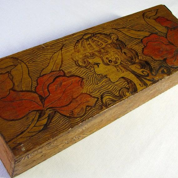 Vintage Glove Box Pyrography Wood Burn Art Nouveau