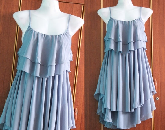 Soft Blue Cocktail Dress - Sweet Heart Chiffon Dress - Romance Night Party Dress Prom Dress