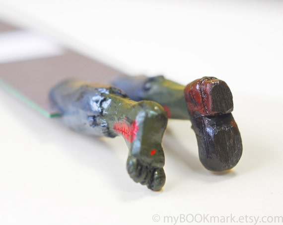 Zombie bookmark. Legs in the book. Weird rustic gift. Bloody mossy green legs. For him, for kids