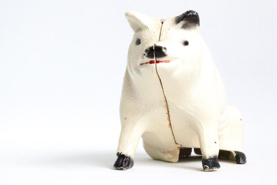 Cast Iron Spotted Pig Piggy Bank Still Bank Black and White