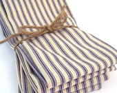 Large Blue French Ticking Stripe Napkins - Set of 4 - Dinner Napkins - Wedding Napkins