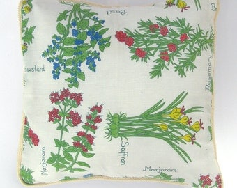 Pillow Cover - Vintage Flower and Herb - 14 x 14