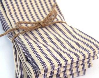 Large Blue French Ticking Stripe Napkins - Set of 4 - Dinner Napkins - Wedding Napkins