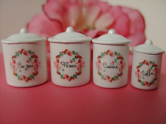 """Dollhouse """"Rose Garden"""" Kitchen Canister Set, Scale One inch"""