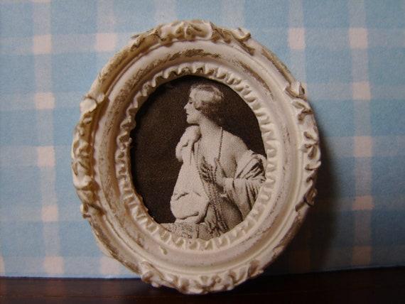 "Dollhouse Miniature Framed Artwork ""Vintage Portrait"", Scale One Inch"