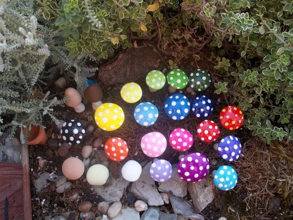 U Pick any 10 fairy garden mushrooms available colors red yellow navy blue green purple and more