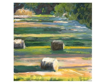 Landscape Painting, Field with haybales, Original Oil on wood panel 10x10 inches