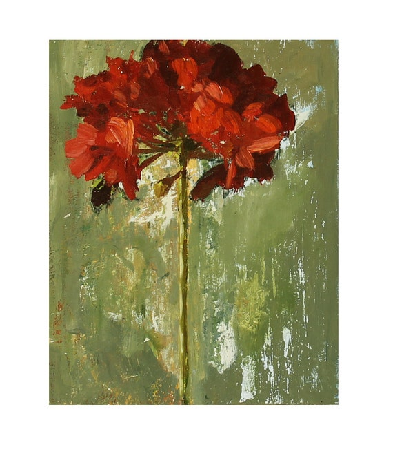 RESERVED - Red Geranium Flower Oil Painting 8x10 inch still life on wood panel sage green red textured modern