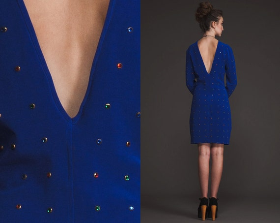Vintage 80s Glam studded Diamond Dress// Cobalt blue purple// M L //bandage//metal // Open Back // Sequin
