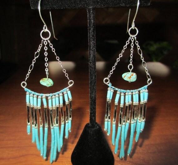Sterling Silver Turquoise Native American seed beaded Earrings, Authentic Kingman Arizona Turquoise earrings