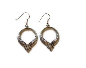 Vintage Boho Circular Pewter Earrings