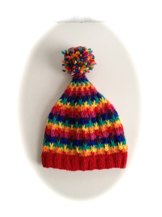 Knitting Pattern For Bobble Hat : Rainbow Bobble Hat Knitting Pattern PDF 0-1yr sizes