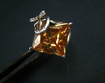 Golden Cubic Zirconia and sterling silver Ring