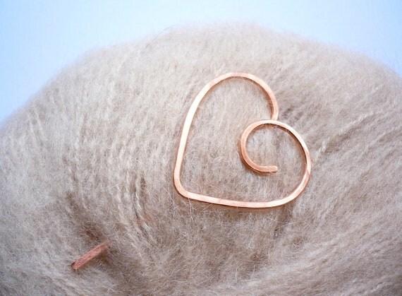 Shawl Stick Pin - Copper Heart