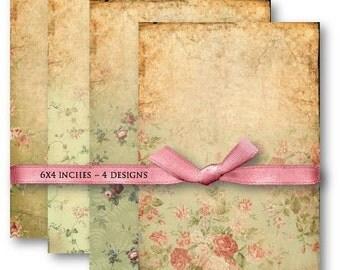 Digital Images - Digital Collage Sheet Download - Vintage Green Floral Papers -  497  - Digital Paper - Instant Download Printables