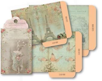 Digital Collage Sheet Download - French Nostalgia Envelopes -  527  - Digital Paper - Instant Download Printables