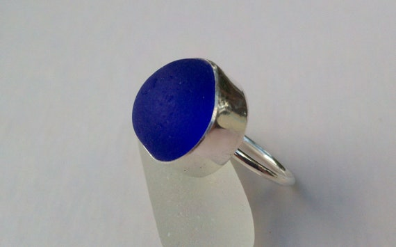 Sea Glass Ring. Sea Glass Jewelry. Sterling Silver, Fine SIlver, Cobalt, Beach Wear