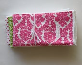 Preppy Pink and Green Girls Burp Cloths - 3 pack