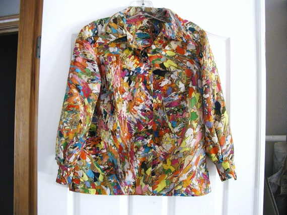 VINTAGE Hippie 1970s Beautiful PSYCHEDELIC HANDMADE Womens Blouse