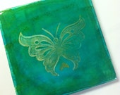 Original Hand-colored Art Tile- BUTTERFLY in Metallic Gold with Aqua Green Blue background-  unique gifts under 10
