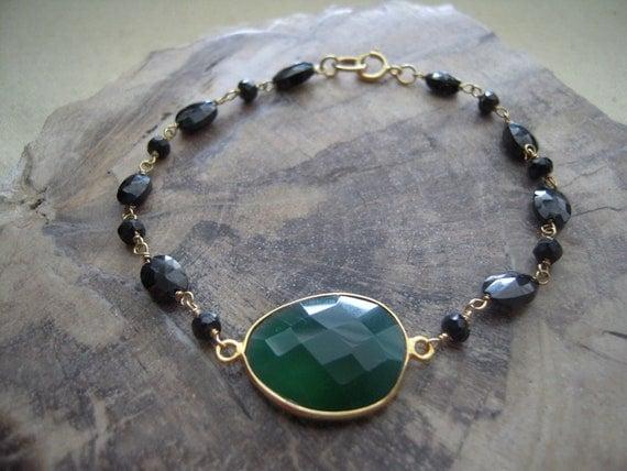 Beautiful Green Onyx Vermeil Bezel Set & Black Garnet Bracelet