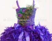 Custom Listing: Feather Dress -  Feather Tutu Dress -  Peacock Tutu Dress - Flower Girl Peacock Tutu Dress -  Tutu Dress