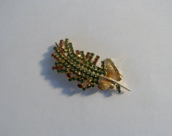 SALE Vintage Christmas Green Red Goldtone  Rhinestone Pine Cone Leaf Design Brooch