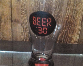 BEER :30  Hand Painted beer glass