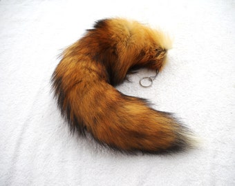 "Real 16""-19"" MOST RED Fox Fur Tail Totem Keychain Key Ring Key Fob for Purse, Anime Costume, Etc"