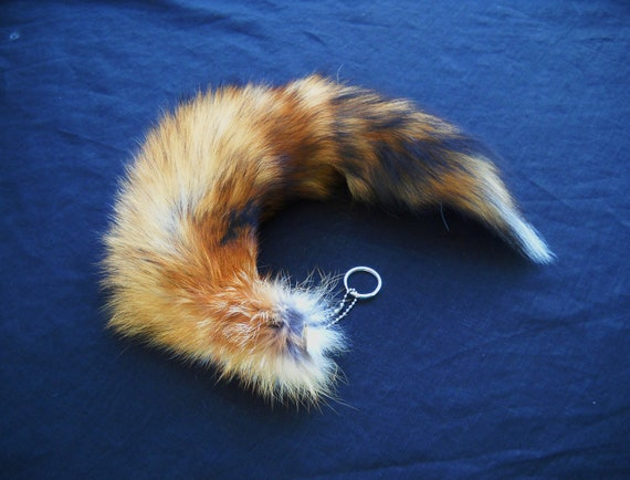 "Real 15""-19"" Discount Red Fox Fur Tail Totem Keychain Key Ring Key Fob for Purse, Anime Costume, Etc"