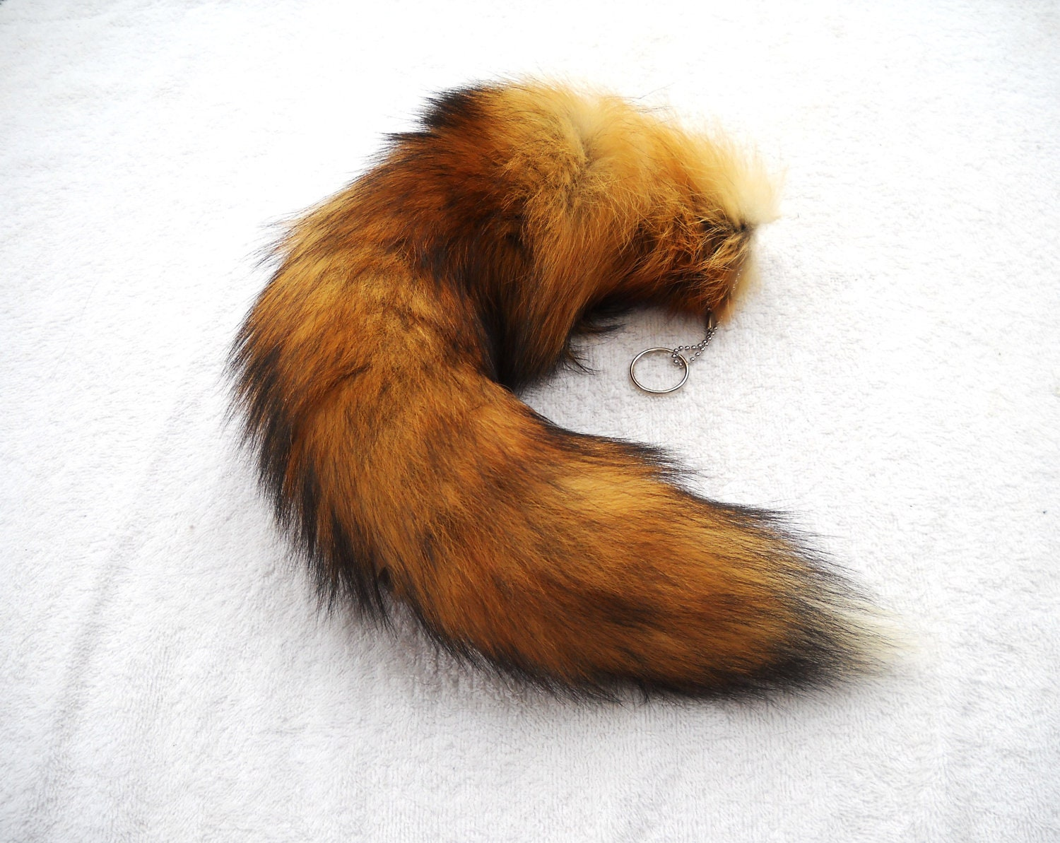 Real 1619 MOST RED Fox Fur Tail Totem Keychain