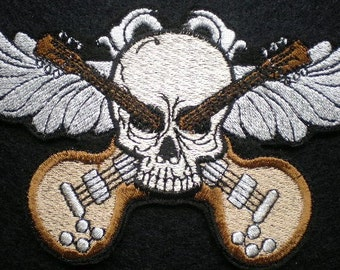 Embroidered Skull and Crossbones, Guitar Crossbones, Iron On Patch Applique, Rock and Roll, Gothic, Biker, Day of the Dead