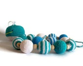 Crochet necklace / Nursing necklace / Teething necklace and toy - Ocean - White-Blue-Mint