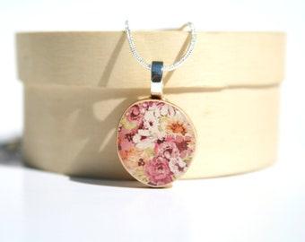 Pink Floral Pendant necklace best friend gift eco friendly