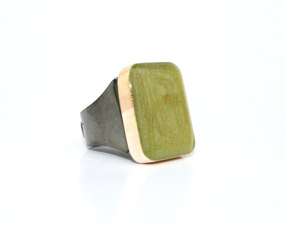 Moss green wood Cocktail Ring eco friendly jewelry olive green statement ring Starlight Woods wood ring Chevron jewelry eco friendly